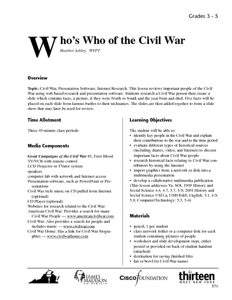 Who's Who of the Civil War Lesson Plan