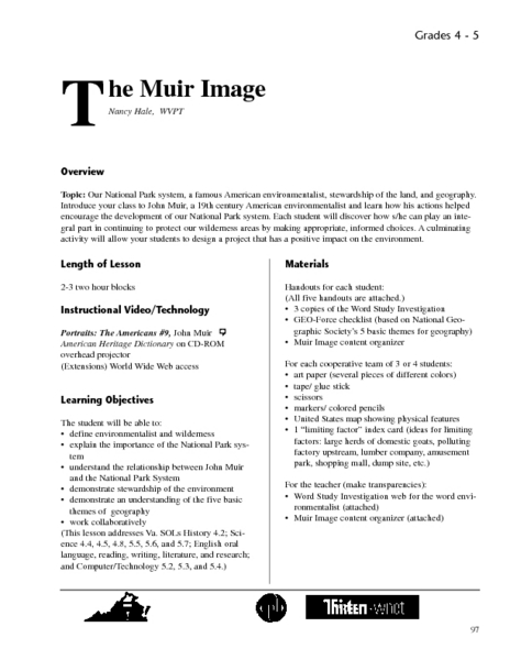 The Muir Image Lesson Plan