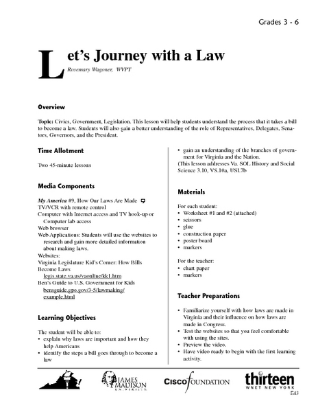 Let's Journey With a Law Lesson Plan