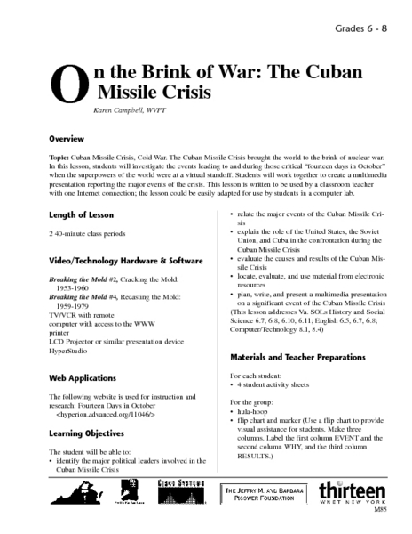 On The Brink Of War The Cuban Missile Crisis Lesson Plan