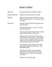 Name It Cotton Lesson Plan