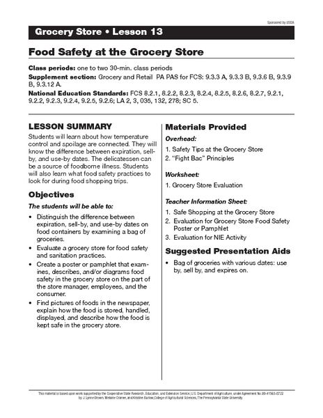 Food Safety At The Grocery Store Lesson Plan For 9th 11th