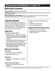 Extra Safe Lunches Lesson Plan