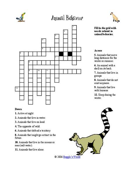 animal behavior worksheet for 4th 5th grade lesson planet