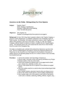 Jamestown in the Media: Distinguishing Fact from Opinion Lesson Plan