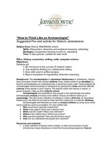 """How to Think Like an Archaeologist"" - Suggested Pre-Visit Activity For Historic Jamestown Lesson Plan"