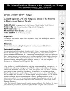 Ancient Egyptian & World Religions: Views of the Afterlife Lesson Plan