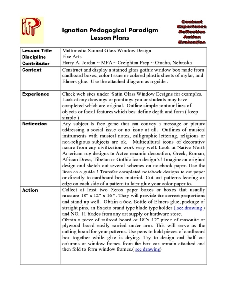 Multimedia Stained Glass Window Design Lesson Plan