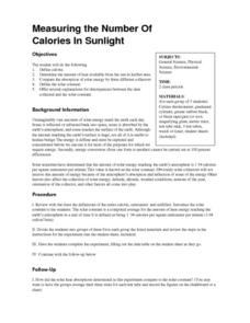 Measuring the Number Of Calories In Sunlight Lesson Plan