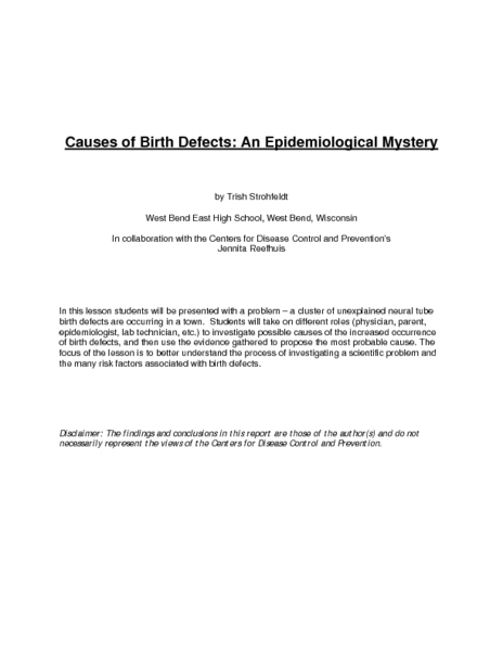 Causes of Birth Defects: An Epidemiological Mystery Lesson Plan
