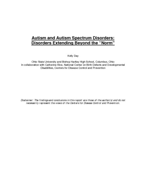 "Autism and Autism Spectrum Disorders: Disorders Extending Beyond the ""Norm"" Lesson Plan"