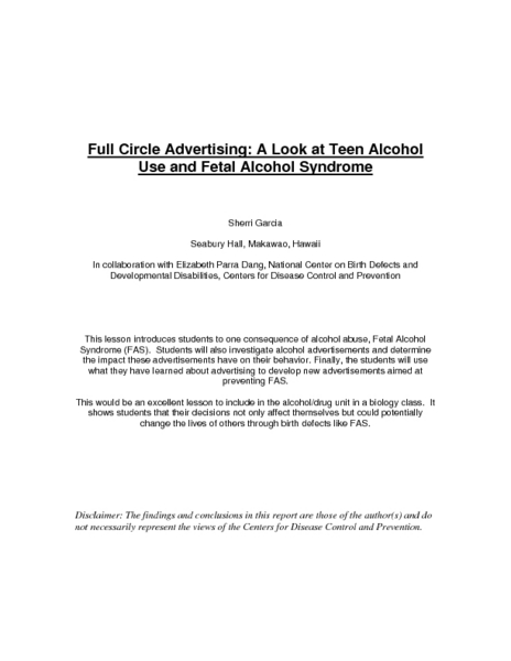 Full Circle Advertising: A Look at Teen Alcohol Use and Fetal Alcohol Syndrome Lesson Plan