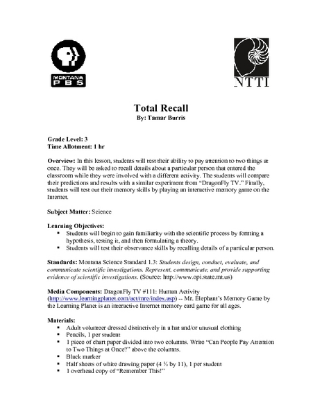 Science: Total Recall Lesson Plan