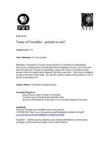 Treaty of Versailles...prelude to war?. Lesson Plan