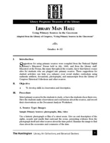 Library Main Hall: Using Primary Sources in the Classroom Lesson Plan
