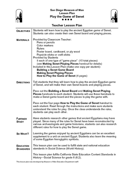Play the Game of Senet Lesson Plan