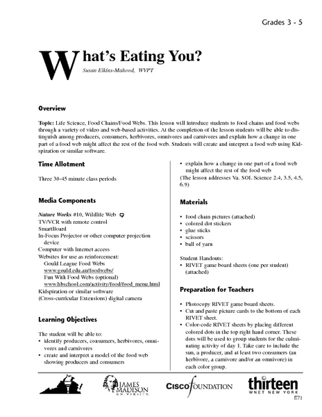 What's Eating You? Lesson Plan
