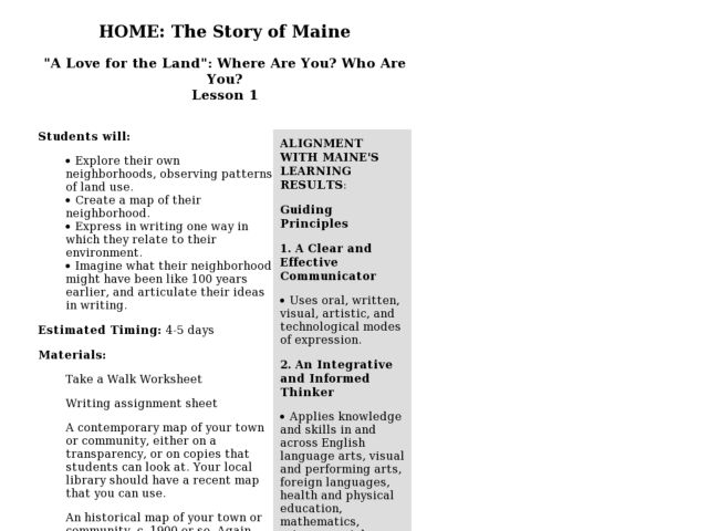 "Home: the Story of Maine ""A Love for the Land"": Where Are You? Who Are You? Lesson Plan"