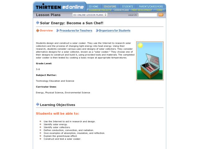 Solar Energy: Become a Sun Chef! Lesson Plan
