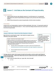 Unit Rate as the Constant of Proportionality Lesson Plan
