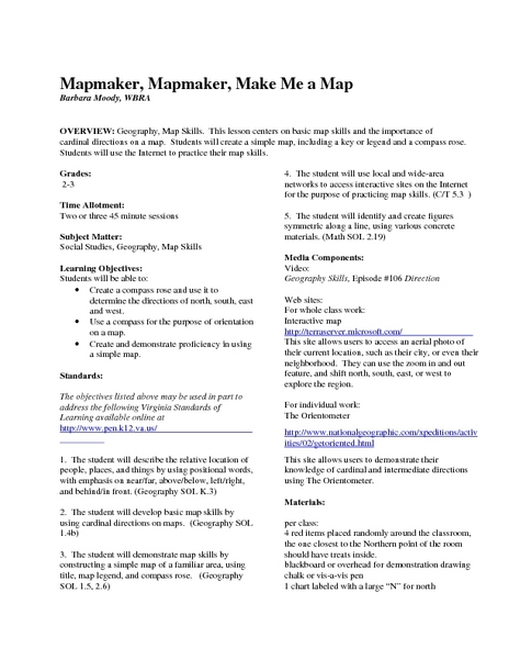Mapmaker, Mapmaker, Make Me a Map Lesson Plan for 2nd - 3rd Grade