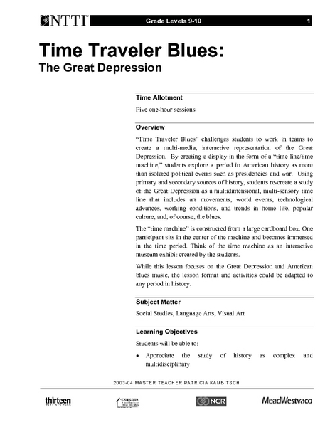 Time Traveler Blues: The Great Depression Lesson Plan