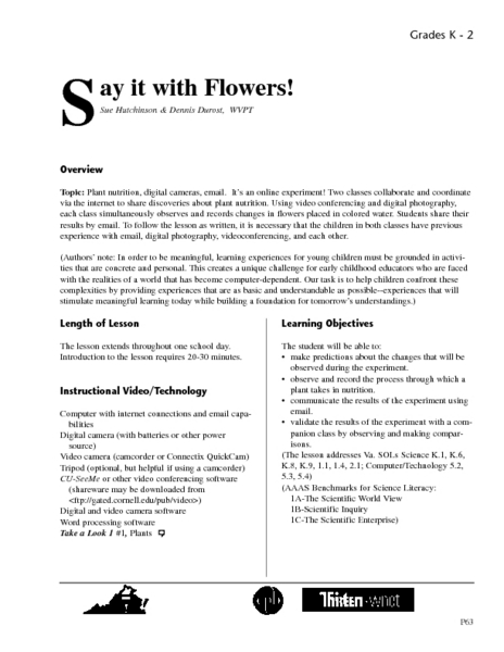 Say It with Flowers! Lesson Plan