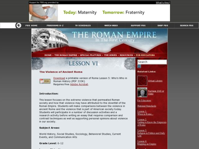 The Violence of Ancient Rome Lesson Plan