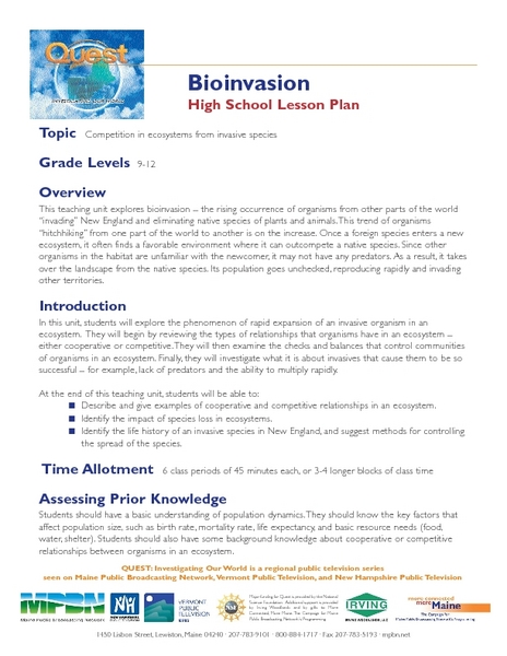 Bioinvasion Lesson Plan