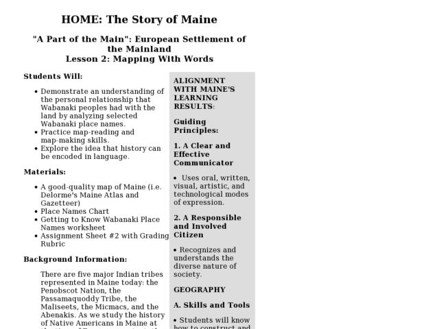 Lesson 2: Mapping With Words Lesson Plan