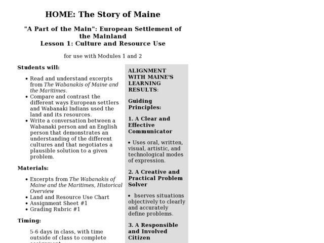 Lesson 1: Culture and Resource Use Lesson Plan