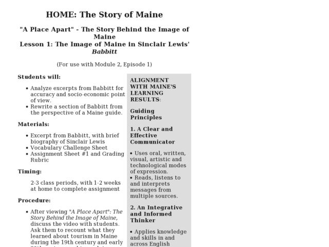 Lesson 1: The Image of Maine in Sinclair Lewis' Babbitt Lesson Plan