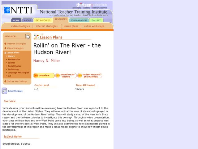Rollin' on The River - the Hudson River! Lesson Plan