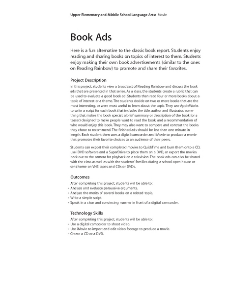 Book Ads Lesson Plan