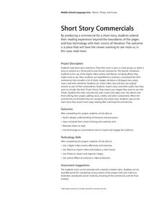 Short Story Commercials Lesson Plan