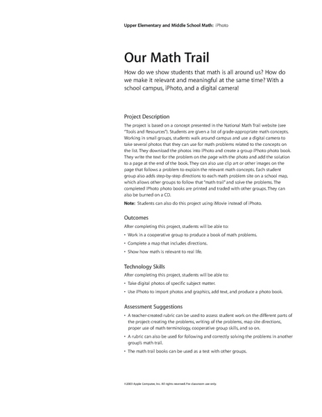 Our Math Trail Lesson Plan