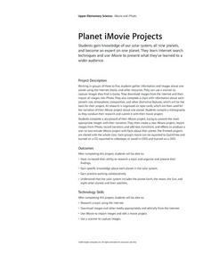Planet iMovie Projects Activities & Project