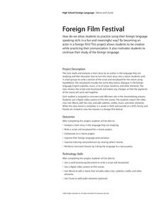 Foreign Film Festival Lesson Plan