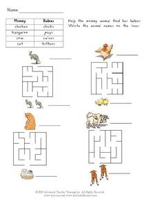 Animal Mommies and Babies Worksheet
