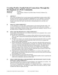 Creating Positive Family/School Connections Through the Development of a Web Community Lesson Plan
