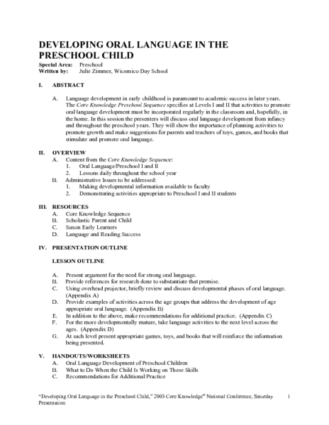 Developing Oral Language in the Preschool Child Lesson Plan
