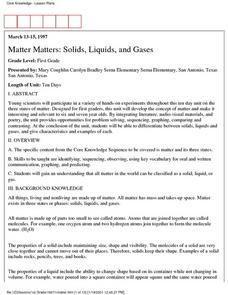 Matter Matters: Solids, Liquids, and Gases Lesson Plan