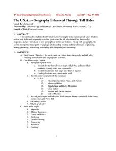 The U.S.A. - Geography Enhanced Through Tall Tales Lesson Plan