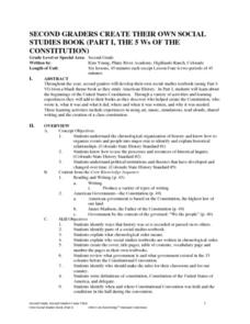 The 5 W's of the Constitution - Part I Lesson Plan
