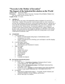 """Necessity is the Mother of Invention"" The Impact of the Industrial Revolution on the World Lesson Plan"