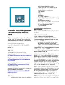 Scientific Method Experiment: Factors Affecting How Ice Melts Lesson Plan