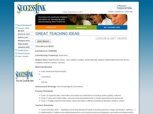Checkbook Math Lesson Plan