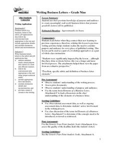 Writing - Business Letters Lesson Plan