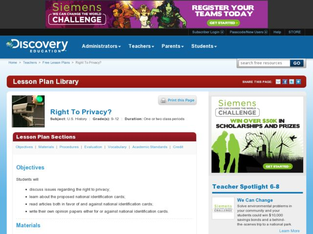 Right to Privacy? Lesson Plan