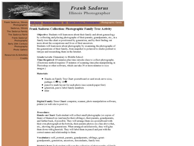 Frank Sadorus Collection: Photographic Family Tree Activity Lesson Plan